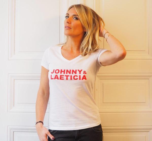 Tshirt johnny Laeti Blanc rouge colV femme