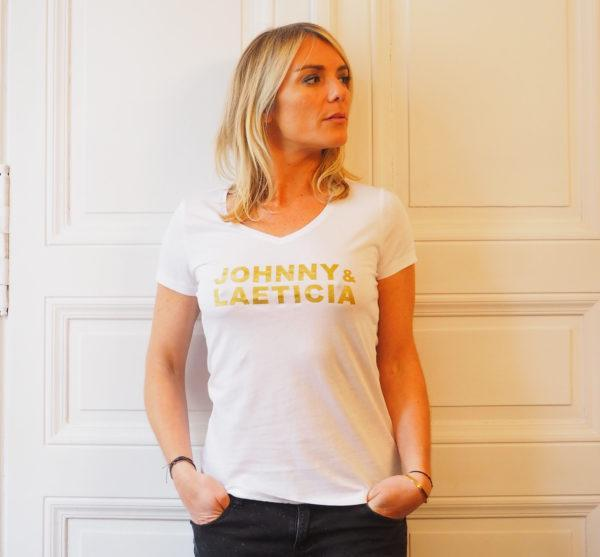 tshirt johnny laeti gold col V femme